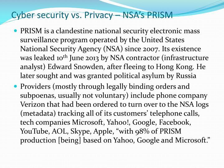 Cyber security vs. Privacy – NSA's PRISM