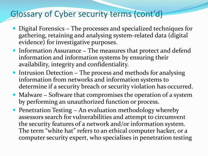 Glossary of Cyber security terms (cont'd)