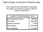 debt to equity or long term solvency ratios