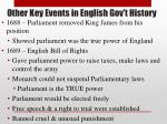 other key events in english gov t history