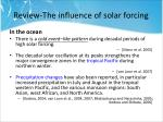 review the influence of solar forcing2