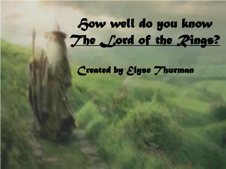 how well do you know the lord of the rings n.