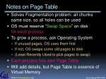 notes on page table