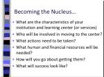 becoming the nucleus