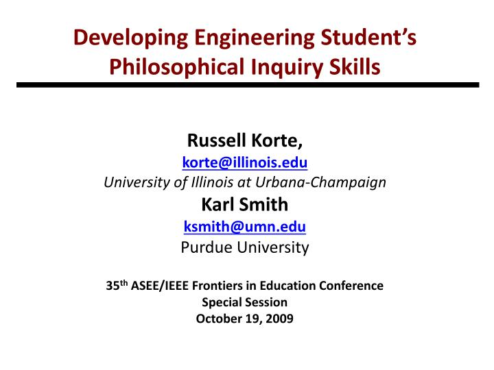 developing engineering student s philosophical inquiry skills n.