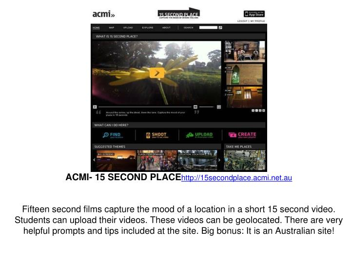 ACMI- 15 SECOND PLACE