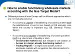 how to enable functioning wholesale markets according with the gas target model