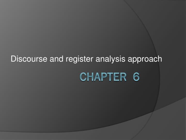 discourse and register analysis approach n.