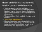 hatim and mason the semiotic level of context and discourse