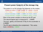 present power footprint of the storage ring