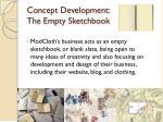 concept development the empty sketchbook