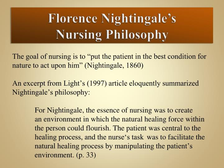 florence nightingale theory research paper Read florence nightingale free essay and florence nightingale florence nightingale was born in florence  book reports, term papers and research papers essays.
