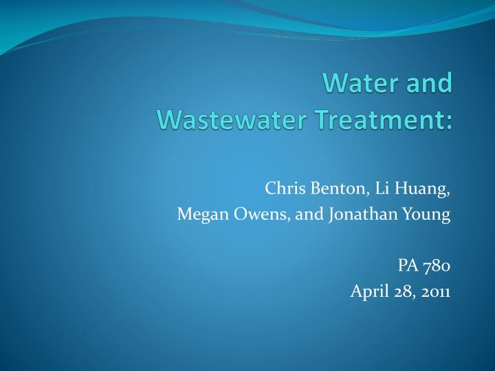 water and wastewater treatment n.