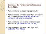 elementos del mantenimiento productivo total tpm