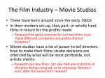 the film industry movie studios