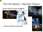 the film industry step one finance