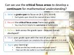 can we use the critical focus areas to develop a continuum for mathematical understanding