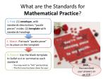 what are the standards for mathematical practice