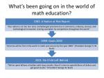 what s been going on in the world of math education