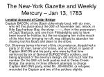 the new york gazette and weekly mercury jan 13 1783
