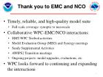 thank you to emc and nco