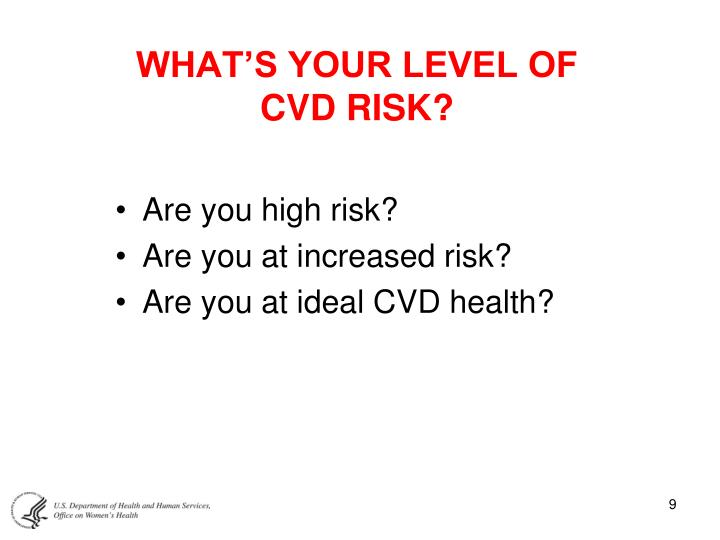 WHAT'S YOUR LEVEL OF CVD RISK?