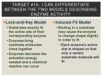 target 16 i can differentiate between the two models describing enzyme activity