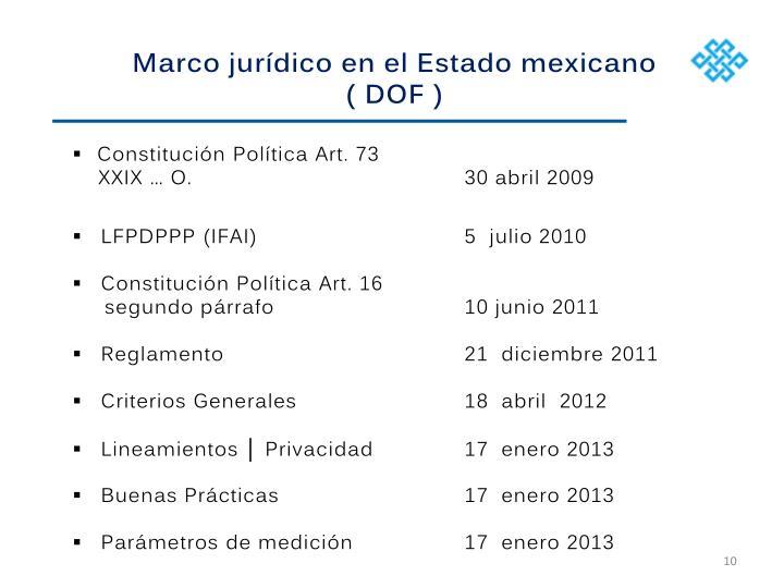 Marco jurídico en el Estado mexicano