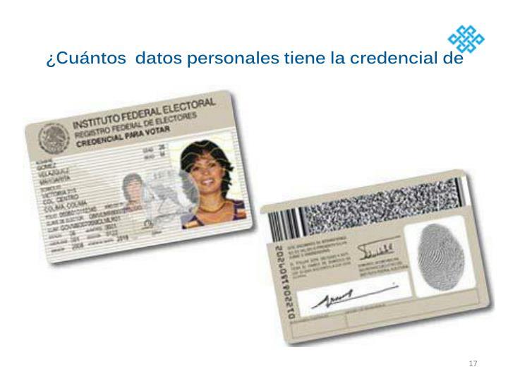 ¿Cuántos  datos personales tiene la credencial de