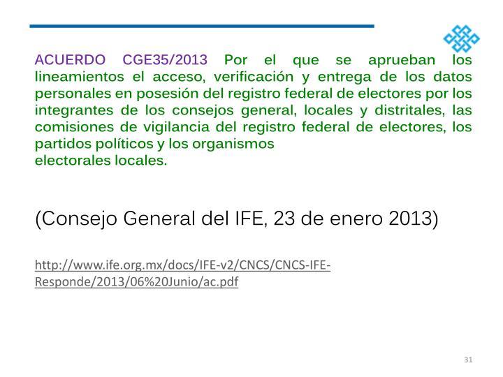 ACUERDO CGE35/2013