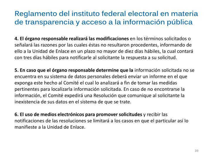 Reglamento del instituto federal electoral en materia de transparencia y acceso a la información pública
