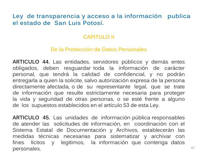Ley detransparenciayaccesoalainformación  publica elestadode SanLuisPotosí.