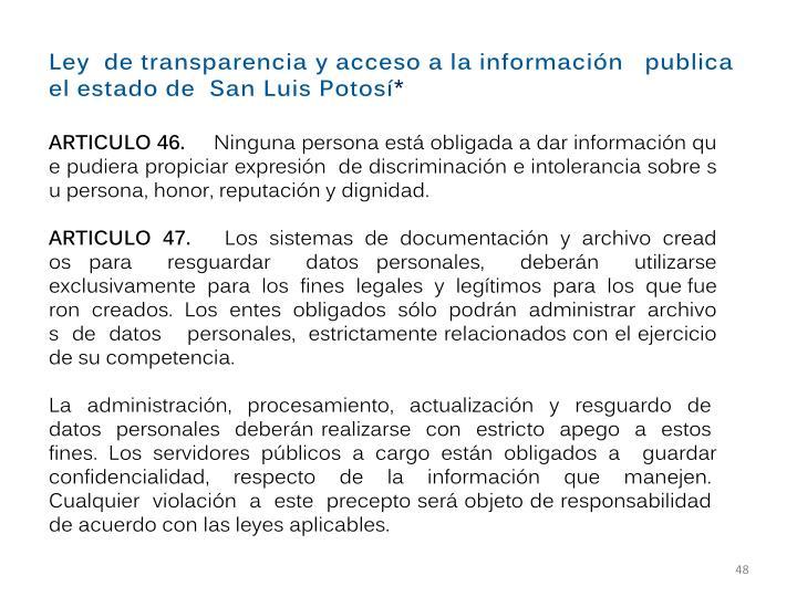 Ley detransparenciayaccesoalainformación  publica elestadode SanLuisPotosí