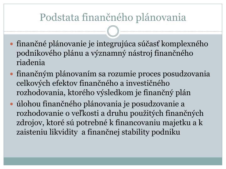 Podstata finan n ho pl novania1