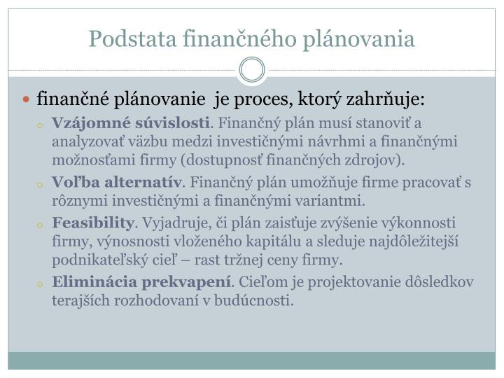 Podstata finančného plánovania