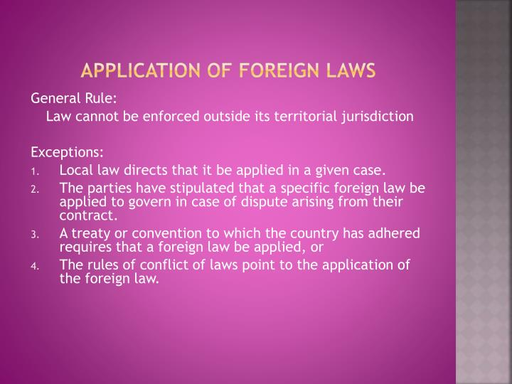 Application of foreign laws