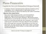 plano financeiro capital de giro a estimativa estoque inicial