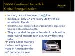 2000s continued growth global reorganization