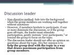 discussion leader