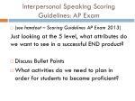 interpersonal speaking scoring guidelines ap exam