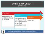open end credit revolving
