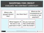 shopping for credit evaluate the contract carefully
