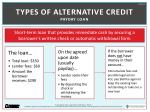 types of alternative credit payday loan