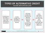 types of alternative credit refund anticipation loan