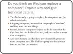 do you think an ipad can replace a computer explain why and give technical details