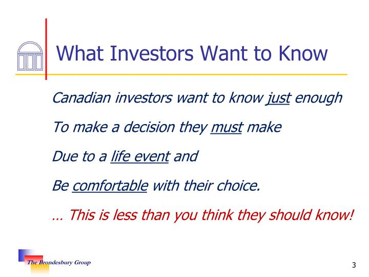 What investors want to know
