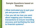 s ample questions based on resume