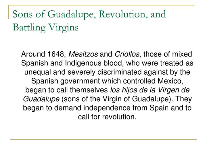 Sons of Guadalupe, Revolution, and Battling Virgins