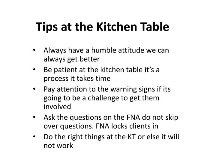 tips at the kitchen table n.