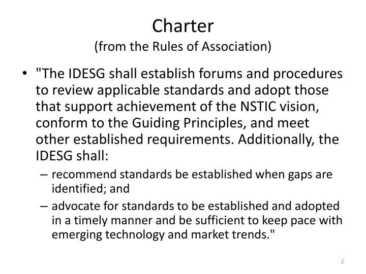Charter from the rules of association